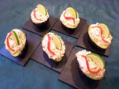 Avocats farcis au saumon