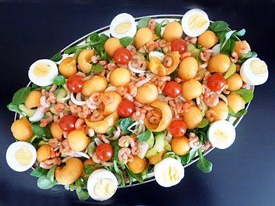 Salade légère melon crevettes