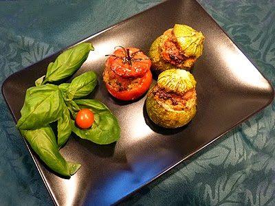 Courgettes et tomates farcies au poulet