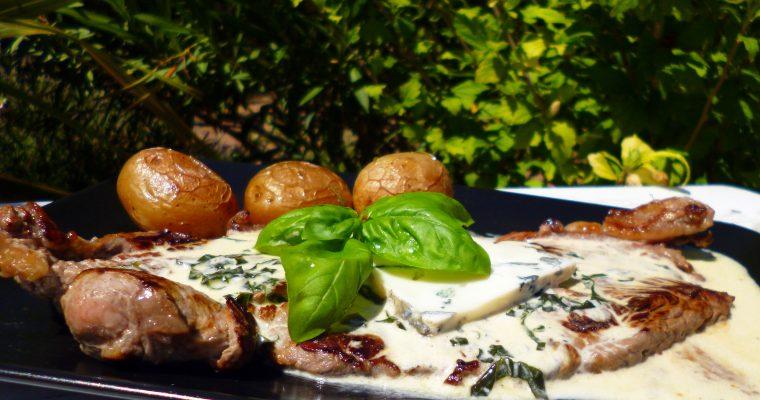 Steaks au basilic et bleu de chèvre