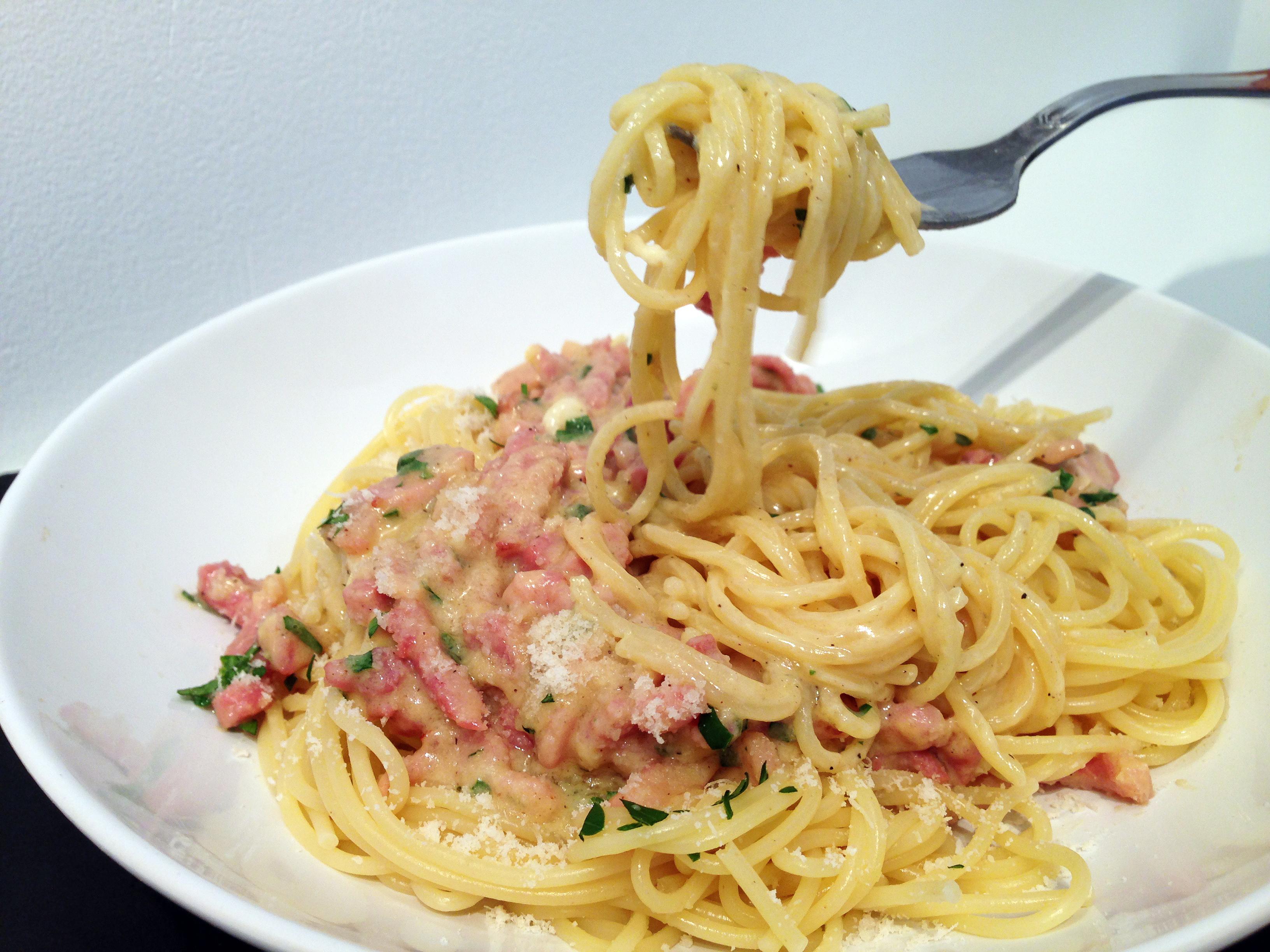 spaghetti carbonara ii recipe dishmaps. Black Bedroom Furniture Sets. Home Design Ideas