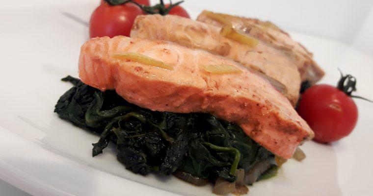 Aiguillettes de saumon aux épinards