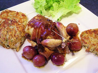 Cailles au raisin et foie gras