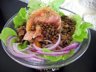 3a93b15501471e Pas besoin de se ruiner pour faire une salade de lentilles au saumon fumé.  Une recette simple et qui fait beaucoup d effet.