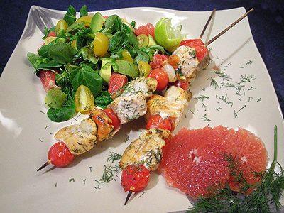 Brochettes de saumon et St Jacques