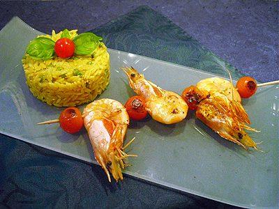 Gambas à la plancha et risotto de risoni
