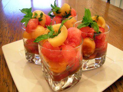 Duo de pastèque et melon en verrines