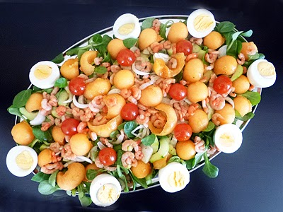 Salade l g re melon crevettes la recette facile par for Entree legere facile