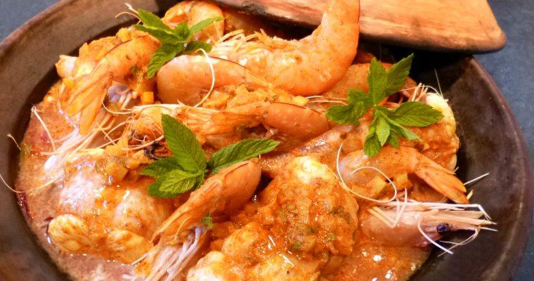 Tajine de lotte et gambas au curry
