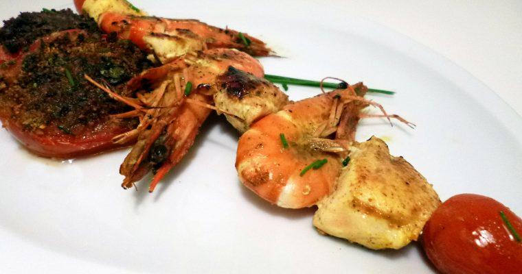 Brochettes de poulet aux crevettes