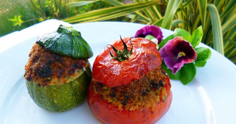 Tomates et courgettes farcies au basilic
