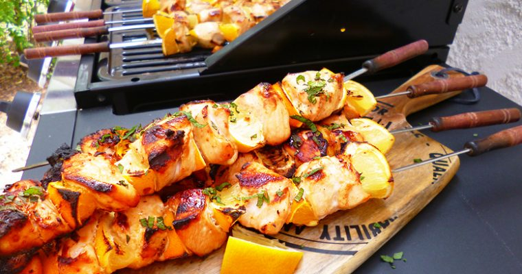 Brochettes de poulet aux agrumes