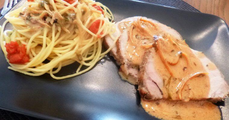 Rôti de porc sauce citron estragon
