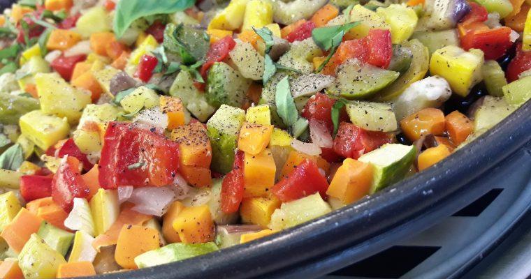 Brunoise de légumes sur plat crisp