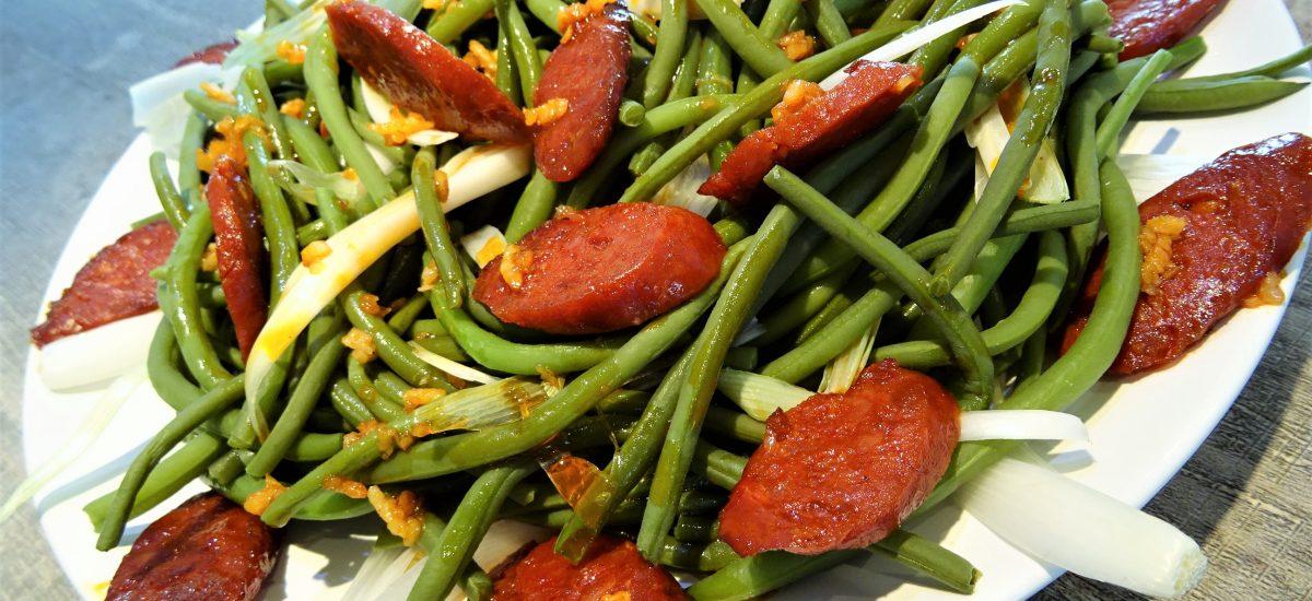 Salade de haricots verts frais au chorizo