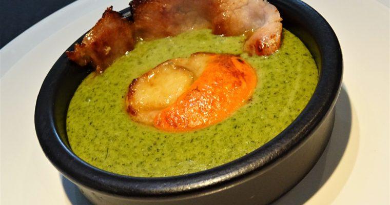 St Jacques au bacon et crème de cresson