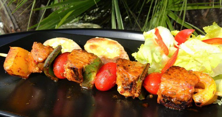Brochettes de porc marinade cajun