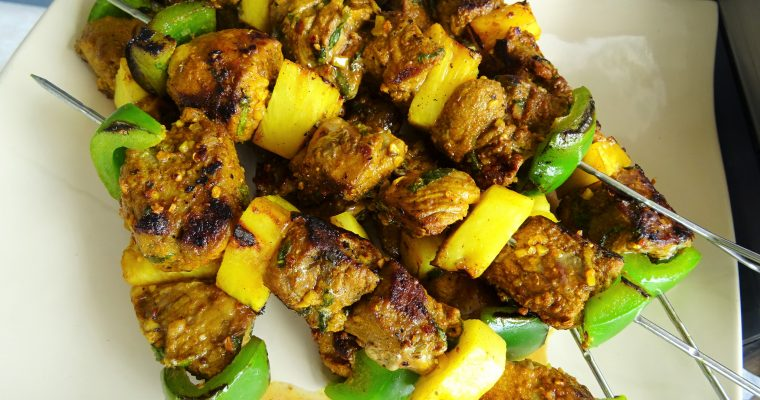 Brochettes de gigot au curry
