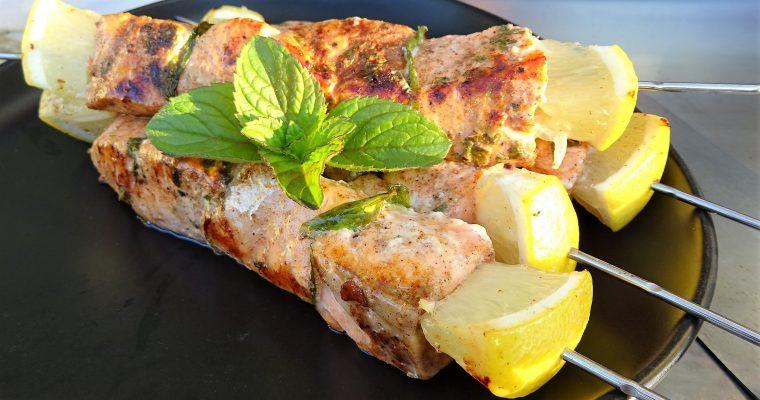 Brochettes de saumon menthe citron