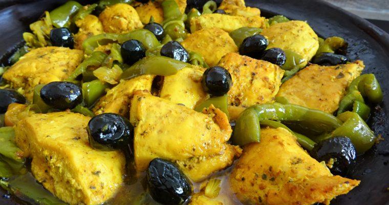 Tajine au poulet curry et poivrons verts
